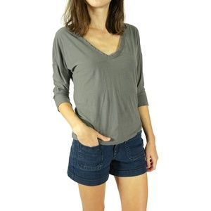 James Perse T Shirt V Neck 3/4 Sleeve Size 2